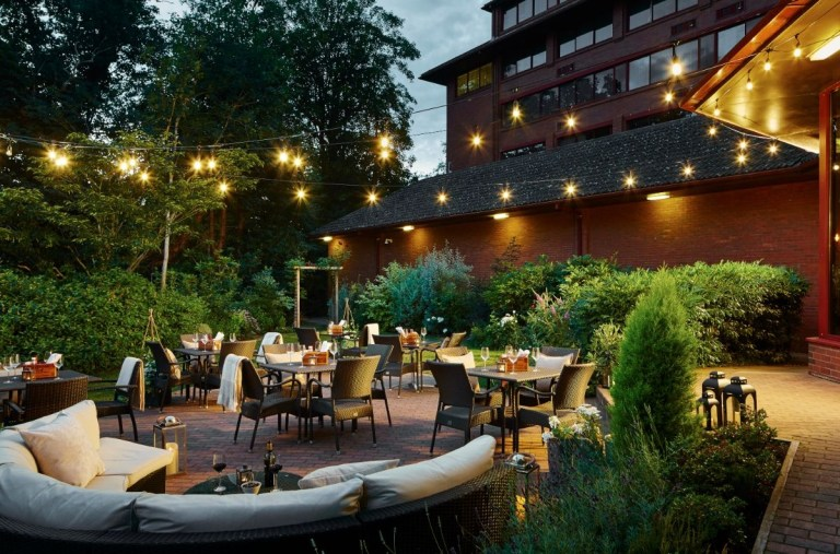 Imagine sipping cocktails and celebrating the wedding in this lovely courtyard!