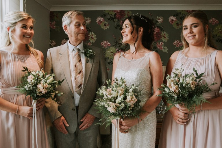 Jo and her father and bridesmaids before the wedding! Simon Turner Photography took the photos.