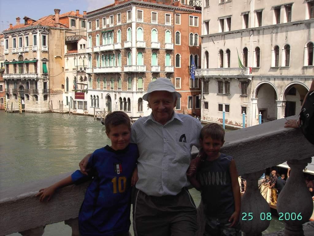 Grandchildren & grandfather in Venice