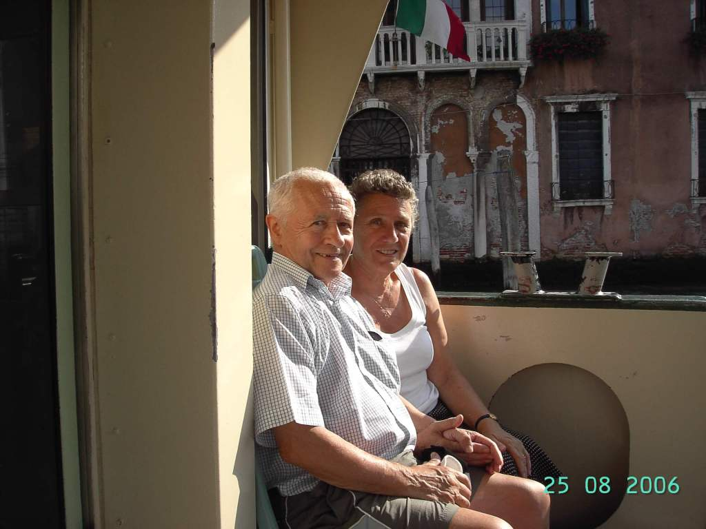 an elderly couple on the vaporetto