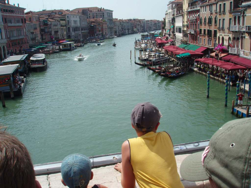 a boy looking down the Grand Canal, Venice