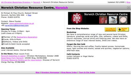 Standalone Entry for Norwich Christian Resource Centre