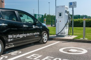 photo of an electric car charging