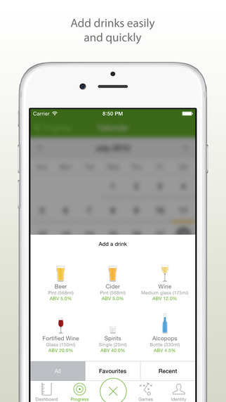 Easy to select beverage options and view your progress.