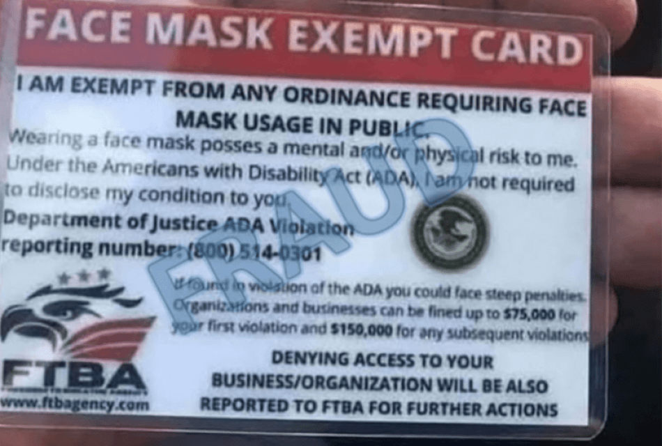 DOJ: Face Mask Exempt Cards Are Fake