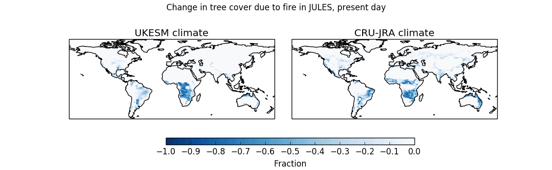 The changes in tree cover due to fire in JULES driven run with observed climate