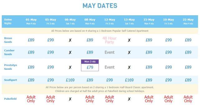 Cheap holiday price at Pontins during May half term