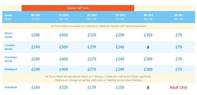 Prices start from just £79 for a break at Pontins this Autumn.