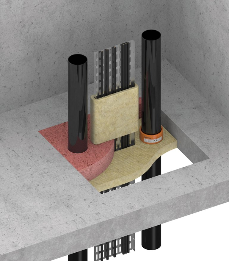Firestopping system installed around various services penetrating a fire compartment floor.