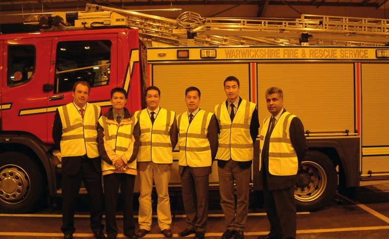 The author with Richard Shreeve of Labeline and the Royal Hong Kong Fire Brigade.