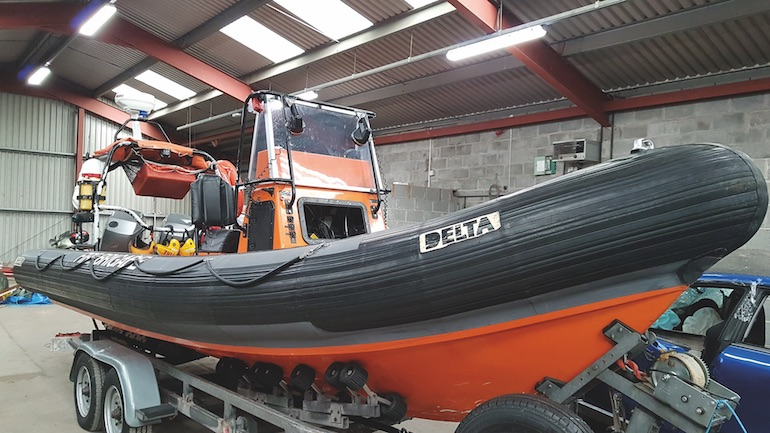 Rescue 1 (Delta 6.4 RIB) from Mid and West Wales Fire and Rescue Service.