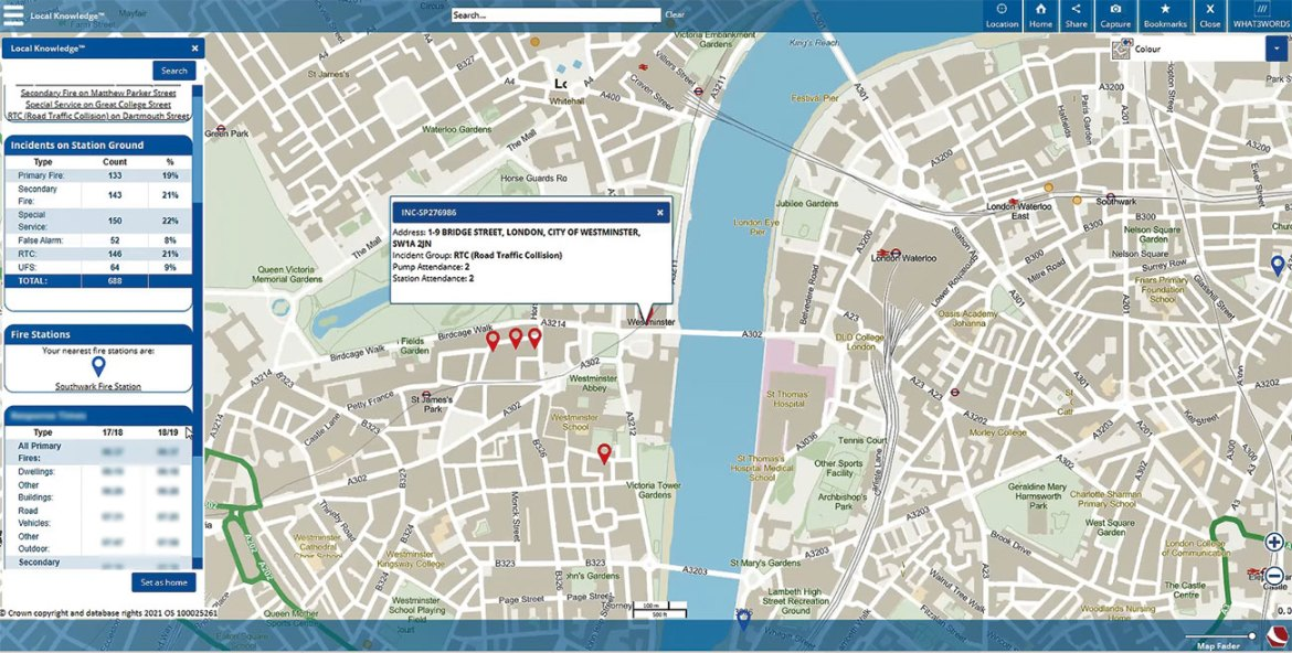 Viewing recent incidents and local information within a web map.