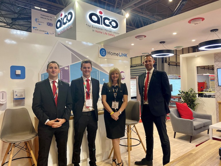 Aico's Regional Specification Managers, Alex Parker, Adam Burch, and Julie Weaving and National Sales Manager, Daniel Little, at The Fire Safety Event. (Aico)