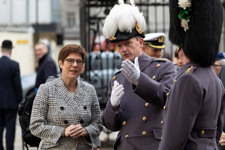 German Defence Minister inspects the Guard at Horse Guards Parade in London.