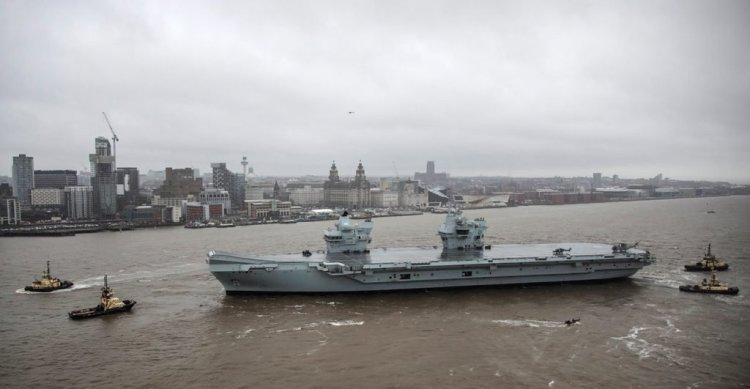 HMS Prince of Wales arriving in Liverpool