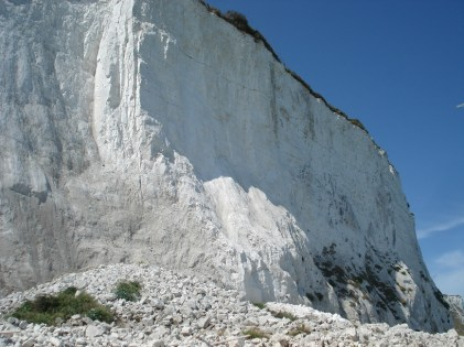Chalk rock fall and cliff