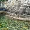 Location 2, base of cliffs and clear water