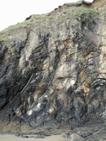 Deformed shale layers