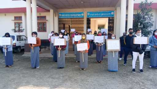 Students of DIET in Imphal staging protest against appointment of new principal in charge on Wednesday 1