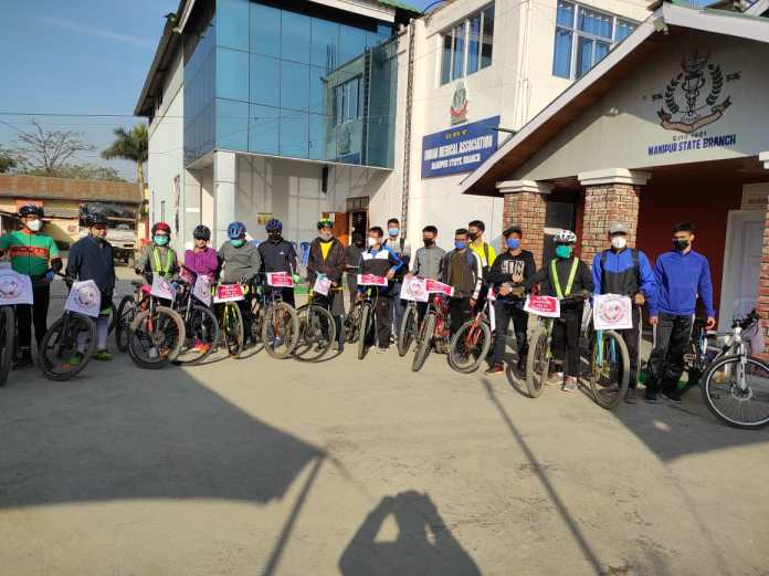 Doctors in Manipur carrying out cycle rally in protest against mixopathy in Imphal on Saturday 2