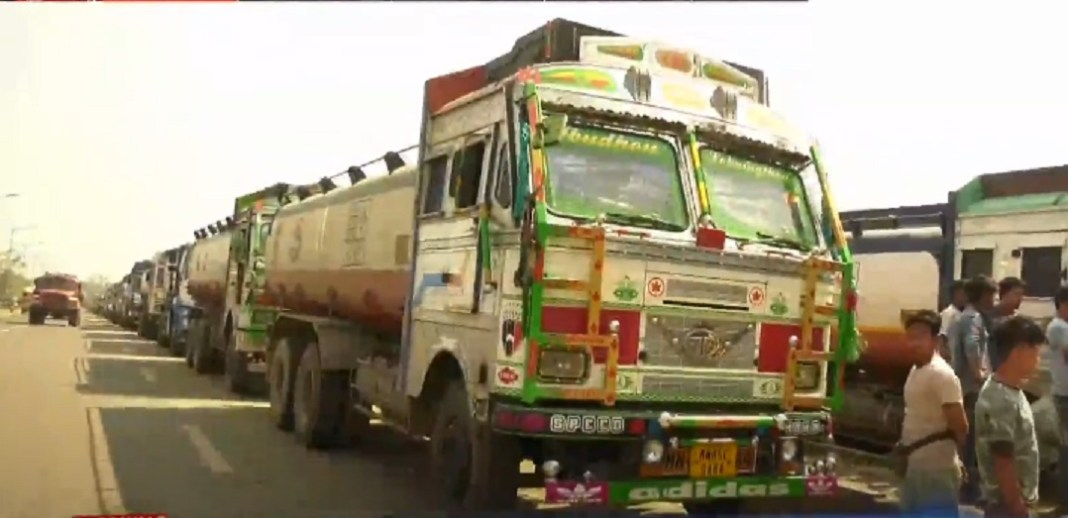 Bullet tankers remained stranded at Mantripuhkri in Imphal after drivers launched steering down strike in protest against looting of drivers 1 1