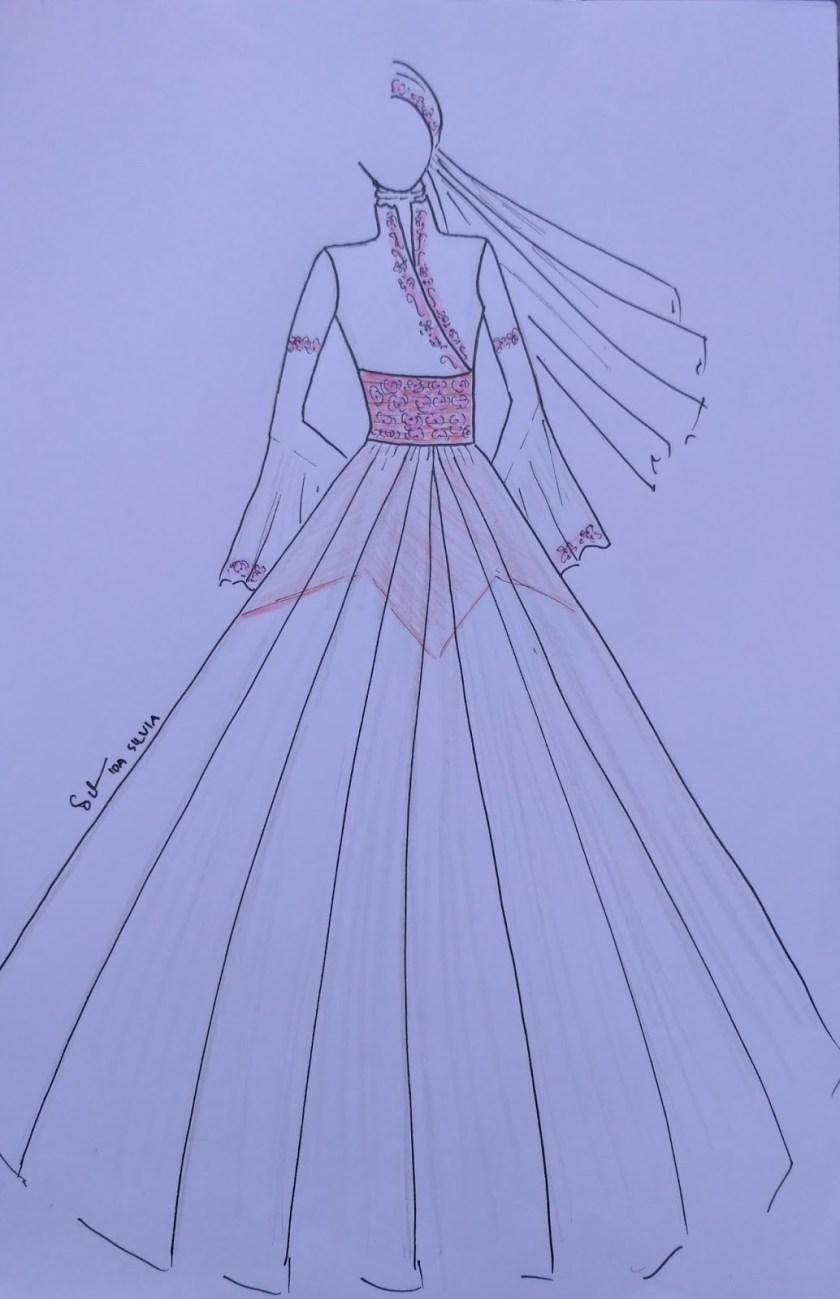 Mewarnai Gambar Sketsa Desainer Baju Muslim Terbaru Kataucap