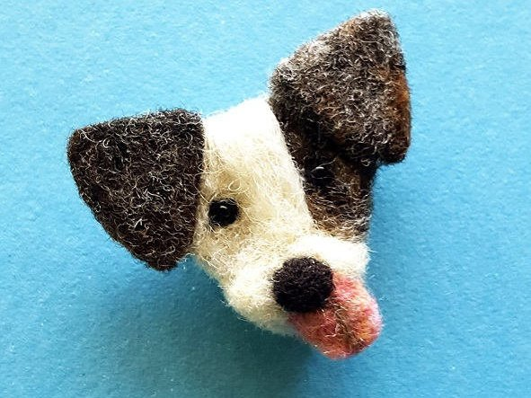Needle Felted Dog Pin Brooch