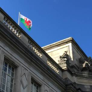 Welsh Flag at Cardiff City Hall