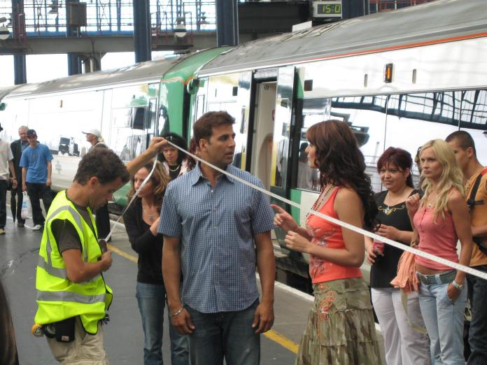 Katrina Kaif and Akshay Kumar on the set of Namastey London