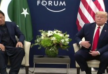 Pakistan PM Imran Khan with US President Donald Trump in Davos