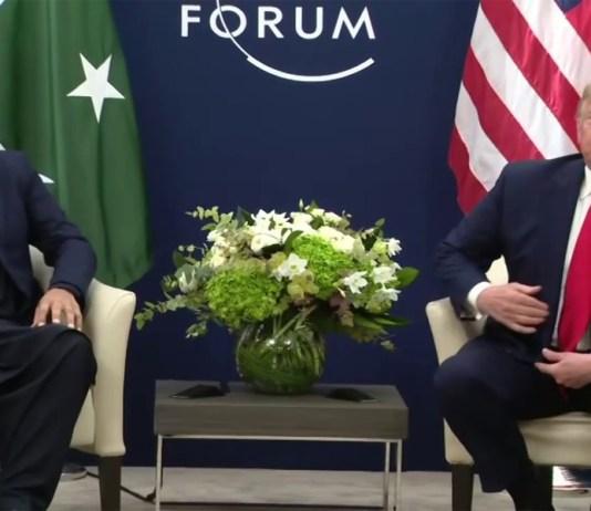 Pakistan PM Imran Khan with US President Donald Trump in Davos