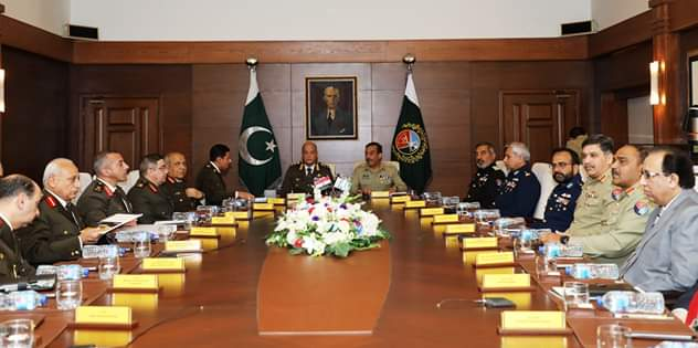 Aref Alwi, President of the Islamic Republic of Pakistan meeting with Pakistani Military