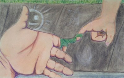 Beatrice Galdamez, 2015. Ties that Bind. Hard pastel and color pencil, 10.5′ x 16.5′