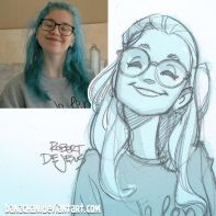 blue hair with glasses