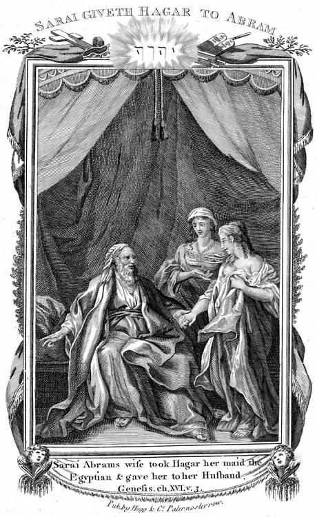 Сара, дружина Авраама, пропонує свою служницю Агар чоловікові. Гравюра на мідній табличці, 1804.