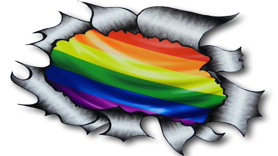 a4-size-ripped-torn-metal-design-with-gay-pride-lgbt-rainbow-flag-motif-external-vinyl-car-sticker-300x210mm-2508-p