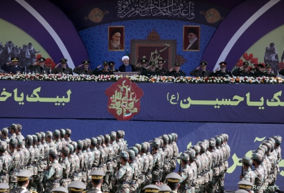 FILE - Iranian President Hassan Rouhani delivers a speech during a National Army Day parade in Tehran, Iran, Sept. 22, 2019. (WANA via Reuters)