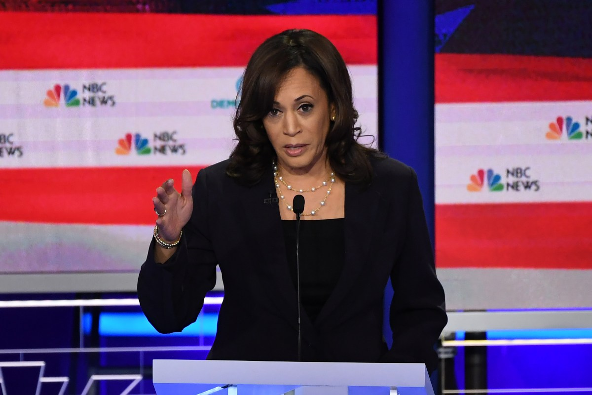 Democratic presidential hopeful U.S. Senator for California Kamala Harris speaks during the second Democratic primary debate of the 2020 presidential campaign at the Adrienne Arsht Center for the Performing Arts in Miami, June 27, 2019.