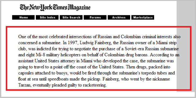 «Нью-Йорк Таймс», воскресный номер от 3.12.2000 г. Фрагмент из статьи известного журналиста этой газеты Кирка Семпла «Подлодка за углом»: