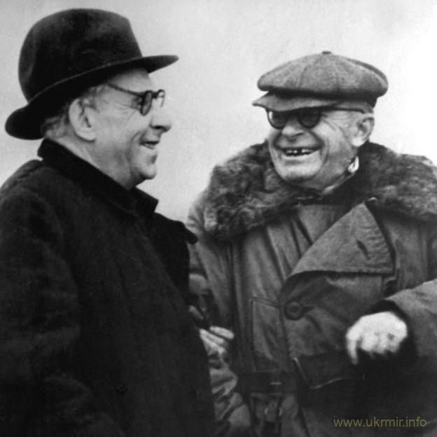 Остап Вишня з Максимом Рильським, 1951 рік