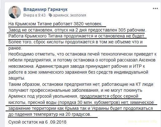 «Титан» до сих пор работает, крымчане травятся