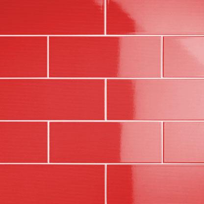 johnson vvd4a vivid red gloss brick ceramic wall tile 400x150mm