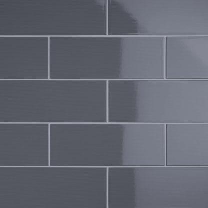 johnson vvd9a vivid dark grey gloss brick ceramic wall tile 400x150mm