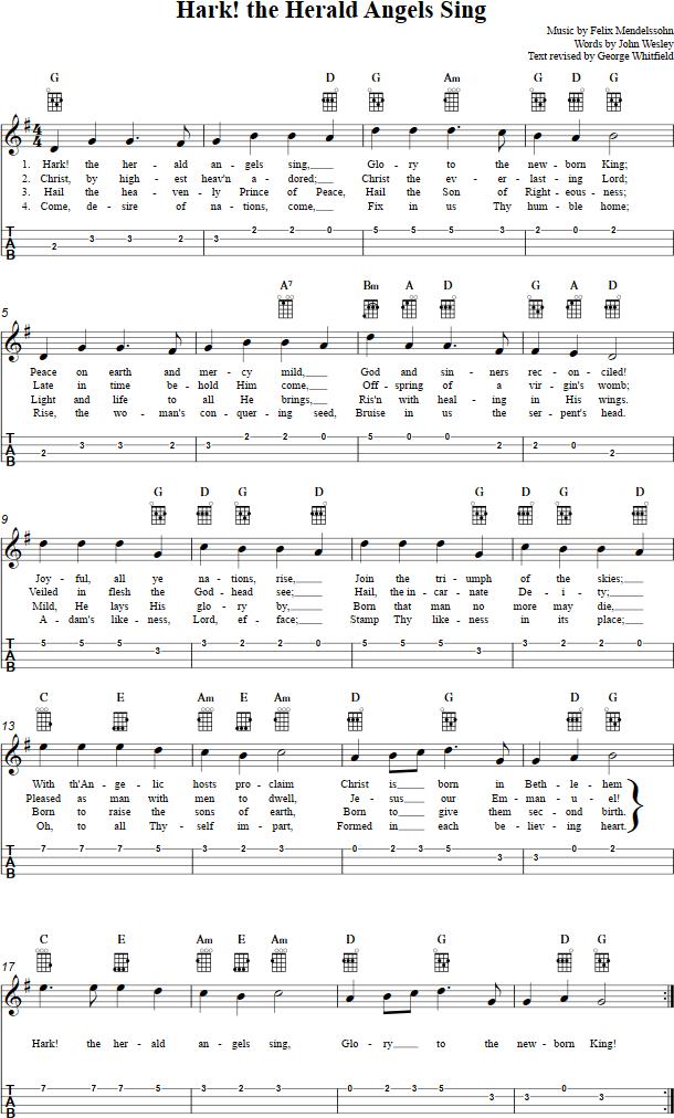 Hark The Herald Angels Sing Ukulele Chords Sheet Music