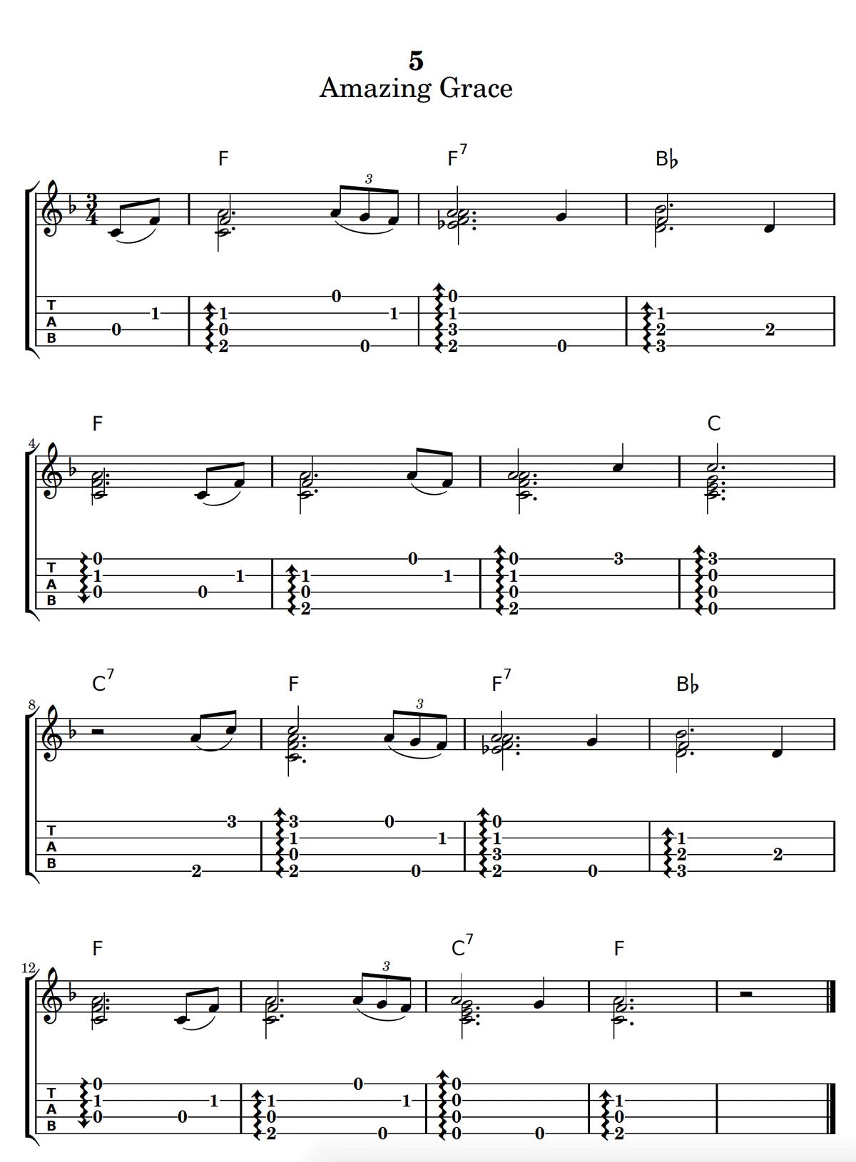 Amazing Grace Chord Melody Ukulele Tab