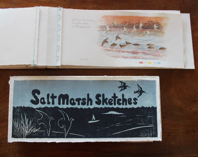 Woodcut prints make great covers for these stitched sketchbooks