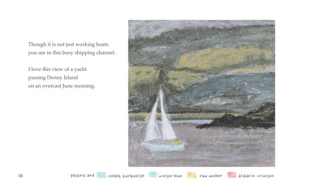 June salt marsh and a yacht passes Denny Island
