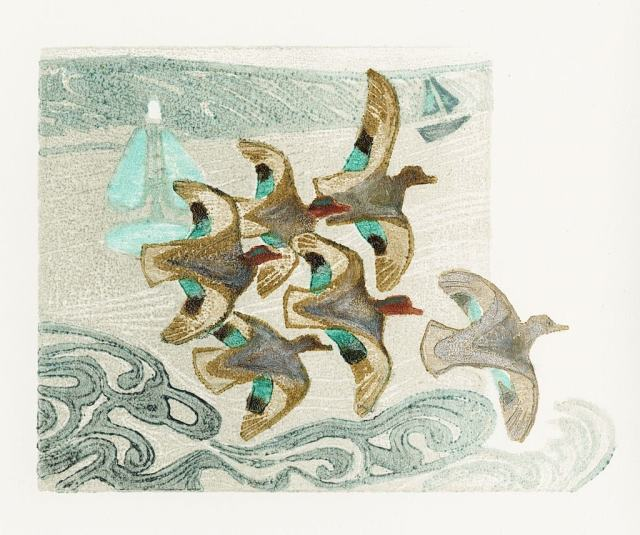 Teal in the Estuary woodcut