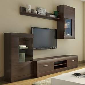 TV Unit  Stand   Cabinet Designs  Buy TV Units  Stands   Cabinets     Ferdinand Entertainment Unit Set 1  Dark Oak Finish  by Urban Ladder
