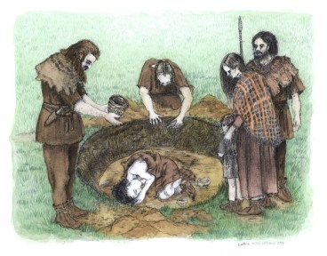 Burial of a child at Barrow 2. Artwork by Debbie Miles-Williams.